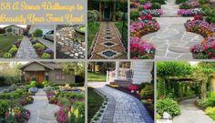 58 A Stones Walkways to Beautify Your Front Yard - Garden stones Cheap Landscaping Ideas, Landscaping With Rocks, Front Yard Landscaping, Rock Yard, Rock Garden Design, Small Garden Design, Outdoor Steps, Front Yard Design, Garden Stones