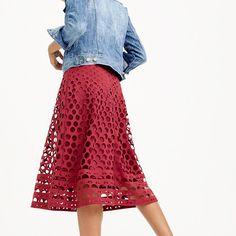 Love this color and the detail...need a petite version of this. J.Crew - Perforated eyelet A-line skirt