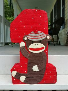 Sock monkey pinata sock monkey birthday sock monkey by LaAranita