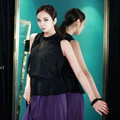 High neck Blouse black blouse luxury blouse summer blouse dint 딘트