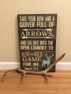 Genesis Handpainted Hunting Sign, Rustic With Elk Best Picture For farmhouse Hunting Room For Y Pallet Crafts, Wood Crafts, Genesis 27 3, Hunting Signs, Bow Hunting Quotes, Elk Hunting, Hunting Lodge Decor, Hunting Crafts, Diy Home