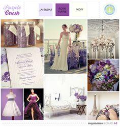 Wedding theme using lavendar/royal purple & ivory