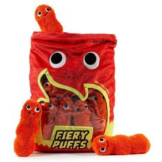 Kidrobot is spicing up your life with the new Yummy World Fiery Puffs Plush! This extra-large food plushie pillow is better than a stuffed animal adding some finger lickin cuddley fire-flavored goodness to Yummy World and your home. This XL bag . Food Pillows, Cute Pillows, Kawaii Plush, Cute Plush, Food Plushies, Yummy World, Cute Stuffed Animals, Crafts, Squishies