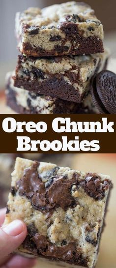 Oreo Chunk Brookies are the best of both worlds with crispy oreo chunk cookie top and rich chewy dark chocolate brownie bottom. Oreo Chunk Brookies are the best of both worlds with crispy oreo chunk cookie top and rich chewy dark chocolate brownie bottom. Dessert Oreo, Brownie Desserts, Mini Desserts, Brownie Recipes, Dessert Bars, Chocolate Desserts, Easy Desserts, Delicious Desserts, Yummy Food