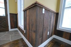 barnwood accent in entry Remodeling Mobile Homes, Home Remodeling, Wood Wainscoting, New Homes, Homes Sale, Home Renovation, Barn Wood, My Dream Home, Home Projects