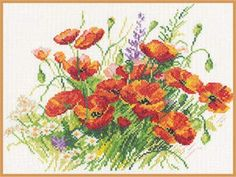 """A BRAND NEW COUNTED CROSS STITCH KIT """"POPPIES FLOWERS"""" ALISA #ALISA #countedcrossstitchkit"""