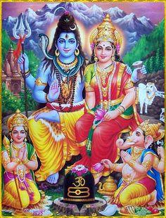 Shiva Parvati and family शिव-पार्वती origin unknown, via Shiva Parvati Images, Shiva Hindu, Shiva Art, Hindu Deities, Lakshmi Images, Durga Maa, Hindu Art, Namaste, Rudra Shiva