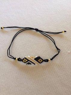 - Handmade with miyoki stones and string - Adjustable stripe - Floral or geometric design - Price is per unit Diy Jewelry, Beaded Jewelry, Handmade Jewelry, Loom Bracelets, Friendship Bracelets, Peyote Stitch, Floral Stripe, Bead Weaving, Beading Patterns