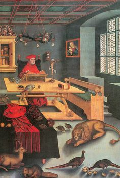 Cardinal Albrecht of Brandenburg as Saint Jerome in his study, painted by Lucas Cranach the Elder, 1526.