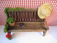 Dollhouse miniatuur tuin Bank, Bank van Dollhouse, Tuin, groen, donkere eiken, twaalfde schaal, poppenhuis, miniatuur