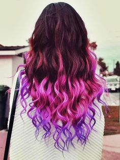 purple dyed curly hair