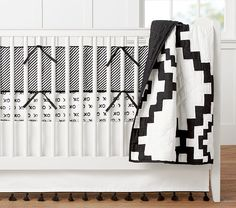 Emily & Meritt Black and White Diamond Crib Bedding