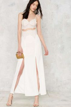 Sweetheart Beat Lace Dress - White - Clothes