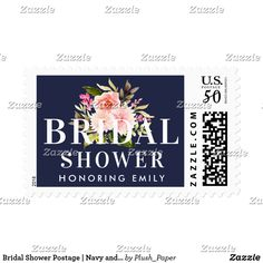 Bridal Shower Postage | Navy and Pink Watercolor Custom wedding bridal shower postage stamps feature white custom text that can be personalized for your event with a beautiful watercolor floral bouquet of greenery with pastel pink, blush, and peach spring dahlia and rose flowers. The midnight / navy blue background color can be customized.