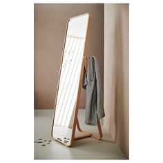 IKORNNES Floor mirror, ash, 20 Tired in the morning? Then hang tomorrow's outfit behind the mirror and allow yourself a few more minutes under the covers. The soft shapes and warm ash veneer create a cozy feeling in the room. Bathroom Colors, Bathroom Sets, Floor Standing Mirror, Body Mirror, Ikea Mirror, Small Mirrors, Floor Mirrors, Unique Mirrors, Window Cleaner