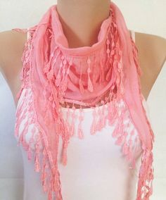 Pink Scarf  Salmon Pink Lace Scarf  Coral Lace Scarf    by MaxiJoy, $13.50