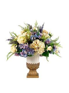 Creativas Muestra púrpura y crema Hydrangea y de Rose floral en urna (púrpura / crema)