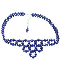 LAPIS NET COLLAR NECKLACE    Lapis and sterling silver net collar necklace.    Particularly works well with denim and blue garments.  ...  Colour: Blue    Size: 37cm    £48.00     http://www.gemjewelleryshop.com/product-information/36/376/lapis-net-collar-necklace/See More