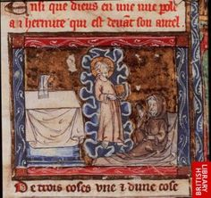 Josephe with the Holy Grail Christ appears to a hermit in a vision, holding a book containing the true history of the Holy Grail. From History of the Holy Grail, French manuscript, early 14th centur