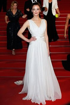 Charlotte le Bon in a white chiffon gown #Cannes2015