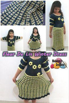Fleur De Lis Winter Dress – Free Crochet Pattern and tutorials - Meladora's Creations