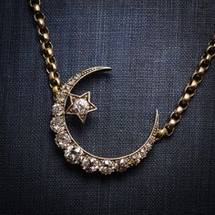 Victorian Crescent Moon & Star Necklace set with old cut Diamonds. Converted from a brooch.