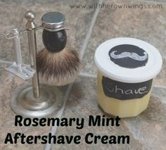 This Homemade Shaving Cream or aftershave moisturizer is amazing and smells awesome. Rosemary Mint or any smell you choose based on the essential oils. Easy DIY gift idea for Father's Day or just for an guy in your life.