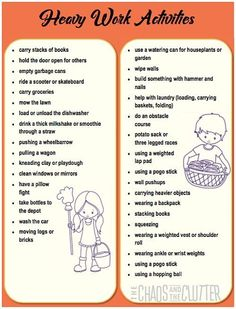 Printouts for heavy work activities Proprioceptive Activities, Occupational Therapy Activities, Sensory Therapy, Proprioceptive Input, Sensory Disorder, Sensory Processing Disorder, Autism Sensory, Sensory Diet, Pediatric Ot