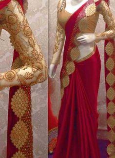 Red Embroidery Cut Work Satin Georgette Designer Party Wear Sarees http://www.angelnx.com/Sarees/Designer-Sarees