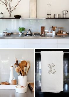 glass backsplash ... I want to try this in my kitchen.