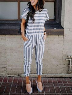 Casual Striped Patchwork Loose Jumpsuit