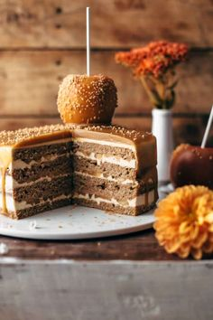 This Caramel Apple Cake is a showstopper. Soft apple cake layers filled with apple cinnamon filling, frosted with caramel buttercream and topped with caramel sauce. Caramel Apple Cake Recipe by Also The Crumbs Please Chocolate Cake With Coffee, Coffee Cake, Chocolate Glaze, Apple Cake Recipes, Dessert Recipes, Dessert Oreo, Thanksgiving Cakes, Most Delicious Recipe, Fall Desserts