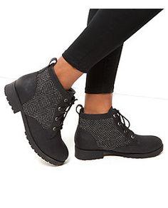 Bottines à lacets Wide Fit avec empiècement en tweed | New Look