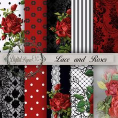Digital Scrapping Paper Roses and Lace Digital by digitalpaperetc