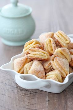 "These Soft Farmer's Cheese Cookies - aka ""Гусиные Лапки"" (Geese Feet) are tender bites of not-too-sweet ploufed-up yumness. Cheese Cookies Recipe, Yummy Cookies, Cheese Recipes, Cookie Recipes, Dessert Recipes, Russian Tea Cookies, Farmers Cheese, Food And Drink, Favorite Recipes"