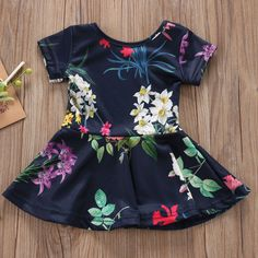 Navy Spring Floral Short Sleeve Casual Dress from kidspetite.com! Adorable & affordable baby, toddler & kids clothing. Shop from one of the best providers of children apparel at Kids Petite. FREE Worldwide Shipping to over 230+ countries ✈️ www.kidspetite.com #clothing #dresses #toddler #girl