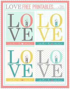 Love at HOME Free Printables… Four colors to choose from! the36thavenue.com #printables #home #quotes