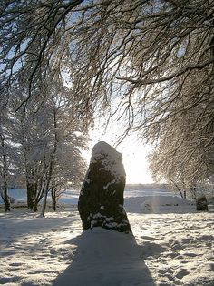 Clava Cairn in winter near Nairn, Scotland ~ Not far from the battlefield of Culloden are late Stone Age and early Bronze Age cairns surrounded...