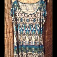 Top Multicolor long tee. Soft and flowy. Excellent condition. Lord & Taylor Tops Tees - Short Sleeve