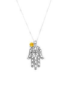 Honey Amber & Sterling Silver Hamsa Pendant Necklace