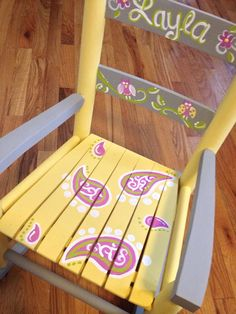 Girls rocking chair  yellow gray  paisleys and by MelanieLupien, $160.00