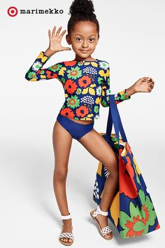 Every summer day calls for playful prints like these in the Marimekko for Target collection. Major must-haves include this Toddler Girls' Long-Sleeve Rash Guard and Oversized Beach Tote in the Kukkatori print. The rash guard has UV50+ sun protection. The tote has a surprise pop of print inside. Grab these pieces and more starting April 17th. Click to peruse the entire collection lookbook featuring fashion, home, outdoor and more.