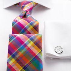 Bright multi check handmade tie   Men's handmade ties from Charles Tyrwhitt, Jermyn Street, London