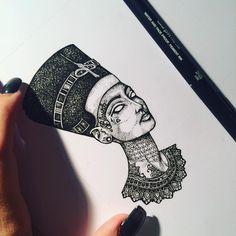 My #blessed tattooed Nefertiti.  #murderandrose