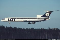 LOT Polish Airlines Tupolev TU-154 on landing approach Warsaw