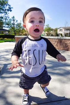 Growing in Jesus. Raglan. 6 mo. to adult XL---This would look adorable on Jax.!!