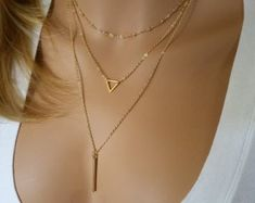 Gold Layering Necklace, Layered Necklace Skinny Bar Stacking Necklace, Stacked Necklace Layer Necklace Multi Strand Necklace Bar Necklace – Most Beautiful Necklaces Diamond Cross Necklaces, Triangle Necklace, Diamond Solitaire Necklace, Multi Strand Necklace, Diamond Jewelry, Layered Necklace Set, Simple Necklace, Bar Necklace, Quartz Necklace