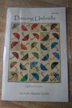 "Quilt Pattern, DANCING UMBRELLA, Edyta Sitar Laundry Basket Quilts, Raw Edge Applique 45"" X 54"" Lbq0343, Lap Quilt, Rainy Day, April Showers"