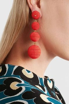 Kenneth Jay Lane - Gold-plated Cord Earrings - Orange - one size