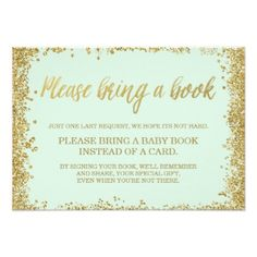 Mint Gold Faux Glitter Baby Shower Book Card - gold glitter style stylish unique